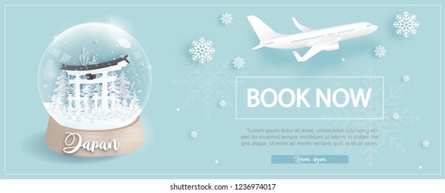 Flight and ticket advertising template with travel to Japanin winter season with Tori gate, famous landmarks in paper cut style vector illustration