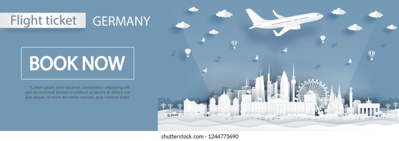 Flight and ticket advertising template with travel to Germany concept, Berlin famous landmarks in paper cut style vector illustration