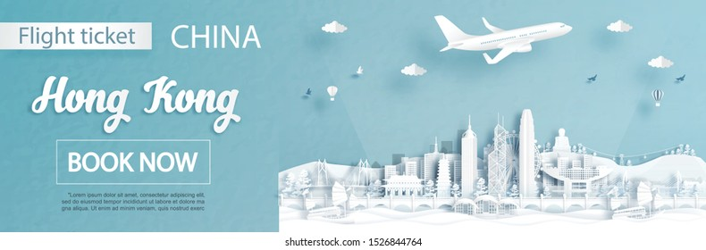 Flight and ticket advertising template with travel to Hong Kong, China concept and famous landmarks in paper cut style vector illustration