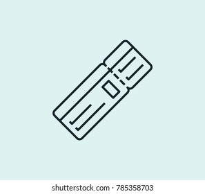 Flight ticket icon line isolated on clean background. Boarding pass concept drawing icon line in modern style. Vector illustration for your web site mobile logo app UI design.