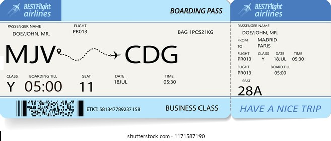 Flight ticket. Pattern of blue boarding pass. Vector illustration.