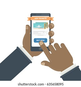 Flight ticket search. African hands holding smartphones with online booking. Buy now