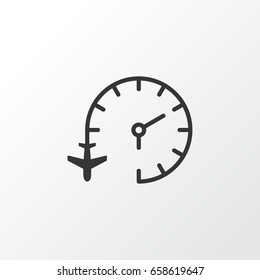Flight Time Late Icon Symbol. Premium Quality Isolated Travel Clock Late Icon Element In Trendy Style.