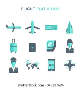 flight, travel by plane flat vector icon set. plane, boarding pass, passport, landing, flight, attendant, pilot, luggage, seat, map, airport, device on flight mode