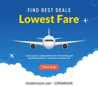 Flight travel trip banner for online booking. Vector Airplane ticket online sale design promo template.