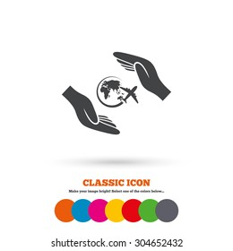Flight trip insurance sign icon. Hands protect cover plane symbol. Travel insurance. Classic flat icon. Colored circles. Vector