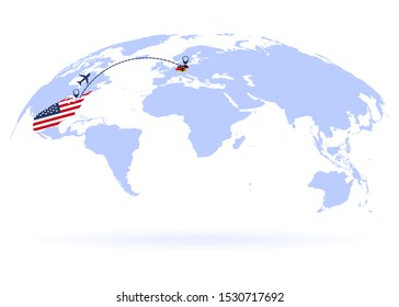 Flight from USA to Germany above world map. Airplane arrives to Germany. The world map. Airplane line path. Vector illustration. EPS 10
