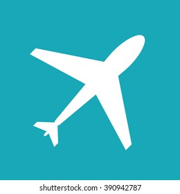 Flight web icon. Airplane symbol, plane. Airport sign, white airplane shape on blue background. Flat flight symbol. Travel icon, shape, label, symbol. Graphic design element for logo, web and print