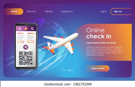 Flights check in web banner. Booking flights travel. Buy ticket online. Online registration. Flat vector illustration isolated on blue background. UI/UX user interface. UI/UX/GUI user interface.