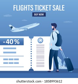 Flights ticket sale, landing page template. Male tourist with luggage, airplane takeoff. Part of boarding pass with big discount. Low fares, cheapest flyes concept. Flat design vector illustration
