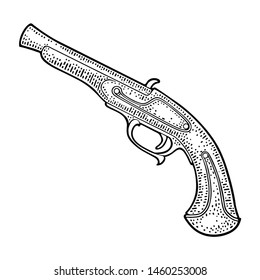 Flintlock antique pistol. Vector black vintage engraving illustrations. Isolated on white background. For tattoo and poster