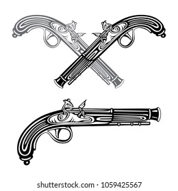 Flintlock. Crossed flintlock pistols. Pirates gun isolated on white background.   Hand drawing illustration drawing in a vintage retro engraved style.