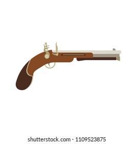 Flintlock history old musket rifle. Revolution gun American pirate vector. Pistol vintage silhouette isolated detail. Antique weapon army military. Ancient gunpowder revolver illustration buccaneer.