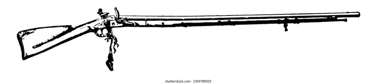 Flintlock Musket used in the American Revolution, vintage line drawing or engraving illustration.