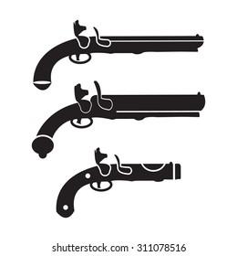 Flintlock pistol or gun vector set