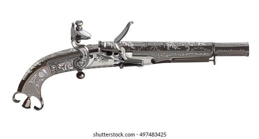 Flintlock pistol. Scottish flintlock pistol with the scroll or rams horn butt, isolated on white, vector illustration, eps-10