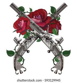 Flintlock pistol. Scottish flintlock pistol with the scroll or rams horn butt twined red roses, design, isolated on white, vector illustration, eps-10