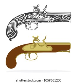 Flintlock  pistols. Pirates gun isolated on white background.   Hand drawing illustration drawing in a vintage retro engraved style.