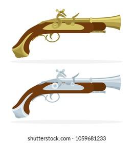 Flintlock  pistols. Pirates gun isolated on white background.