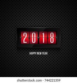 Flip board clock 2018. Happy new year concept
