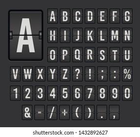 Flip board font set, mechanical display design. Office equipment to show information. Vector flip alphabet  illustration isolated on black background