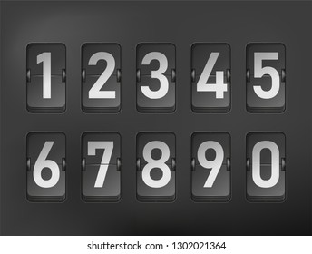 Flip board numbers in retro style. White numbers on black background