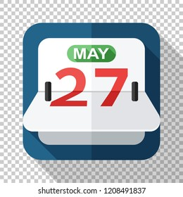 Flip calendar icon in flat style on transparent background