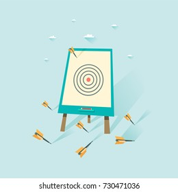 Flip chart with dart missing a target. Loser concept. Can be used for web, banner, diagram, infographic, workflow layout. Vector illustration in flat style