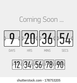 Flip Coming Soon, countdown timer template. Vector.