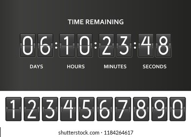 Flip countdown clock counter timer. Time remaining count down board with scoreboard of day, hour, minutes and seconds. Under constuction page template. Vector illustration