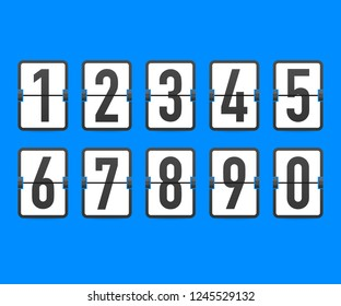 Flip countdown clock counter timer. Vector time remaining count down flip board with scoreboard of day, hour, minutes and seconds for web page upcoming event template design. Vector stock illustration