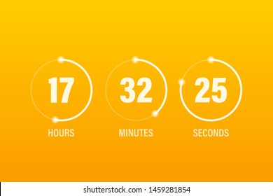 Flip countdown clock counter timer. Vector time remaining count down flip board with scoreboard of day, hour, minutes and seconds for web page upcoming event template design.