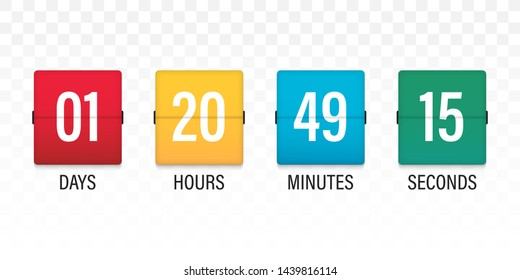 Flip countdown. Clock timer for coming soon or under construction. Time remaining countdown flip board with scoreboard of day, hour, minutes and seconds for web page upcoming event