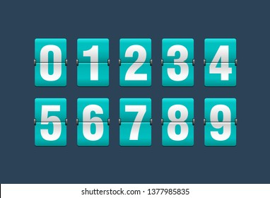 Flip countdown clock - vector digits - turquoise counter timer, time remaining count down scoreboard in flip board with different digits from 0 to 9