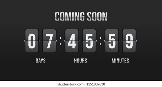 Flip countdown coming soon counter. Vector hours, minutes and seconds flip numbers on board display for web site design