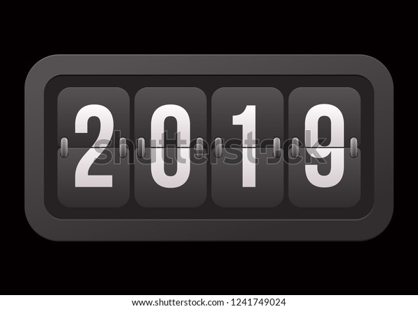 Flip Countdown Timer 2019 Year Number Stock Vector (Royalty