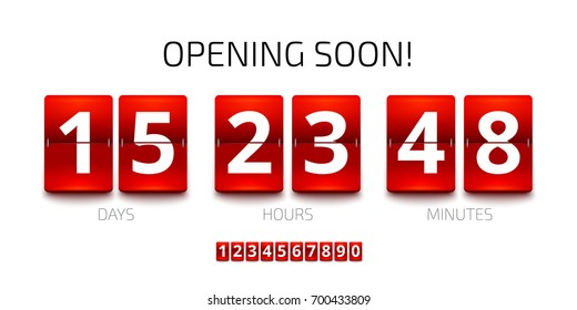 Flip Countdown timer template. Analog Clock counter design. Opening soon flip clock timer. Red Countdown clock isolated on white background. Vector set of numbers for your design