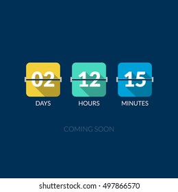 Flip Countdown timer vector clock counter. Flat style.
