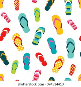 Flip flop color summer pattern. Seamless repeat pattern, background. Cartoon flat illustration.