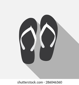 Flip Flop Flat Icon with Long Shadow, Vector Illustration Eps10