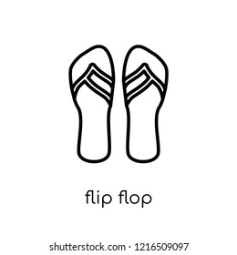 flip flop icon. Trendy modern flat linear vector flip flop icon on white background from thin line collection, outline vector illustration