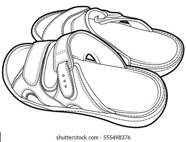 Flip flop sandal shoes for men line draw