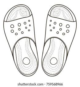 Flip flop sandal shoes for men. Up side, vector doodle illustration
