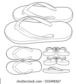 Flip flop sandal shoes pack shot line draw pack-shot