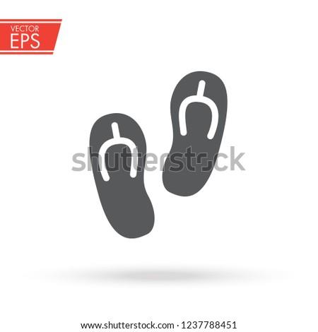 41f3c084a00529 Flip Flop sandal slippers icon. Beach footwear sign. Summer travel symbol.  Holiday sea
