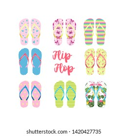 Flip flop set, vector illustration. Summer multicolored flip flops on white isolated background. Beach flip flops.