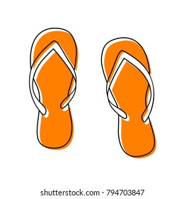 Flip flop sign. Vector. Black line icon with shifted flat orange filled icon on white background. Isolated.