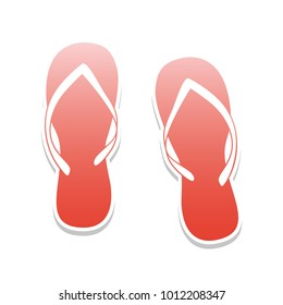 Flip flop sign. Vector. Reddish icon with white and gray shadow on white background. Isolated.