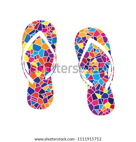 f8aafb09d466 Flip flop sign. Vector. Stained glass icon on white background. Colorful  polygons.