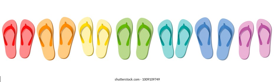 Flip flops - colored summer slippers, symbolic for group travel, team, friends or family holiday - isolated vector illustration on white.